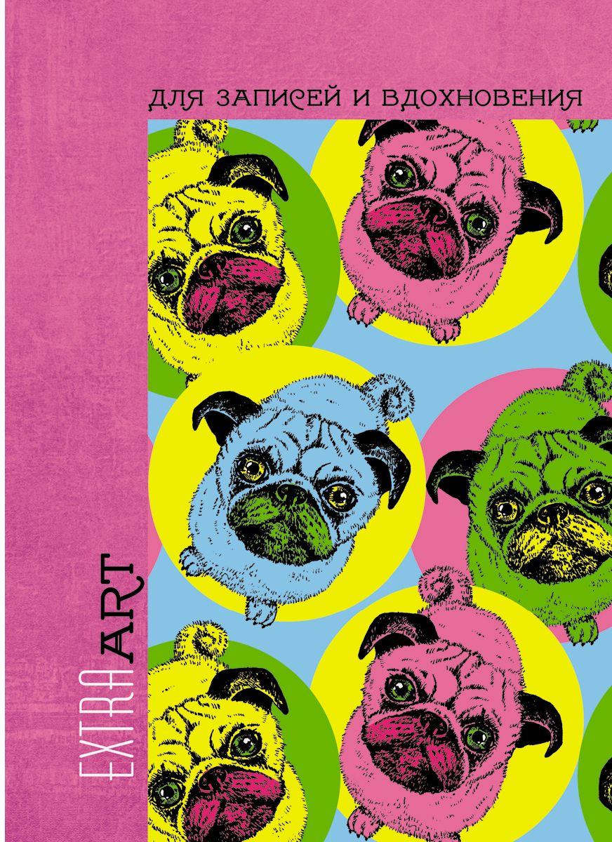 Канц-Эксмо Записная книжка Extra Art Разноцветные мопсы в линейку 96 листов формат А5-