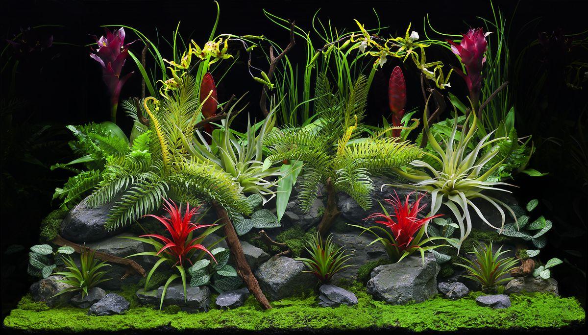 Фон аквариумный Barbus Цветы джунглей. Старый вулкан, двухсторонний, 45 см х 94