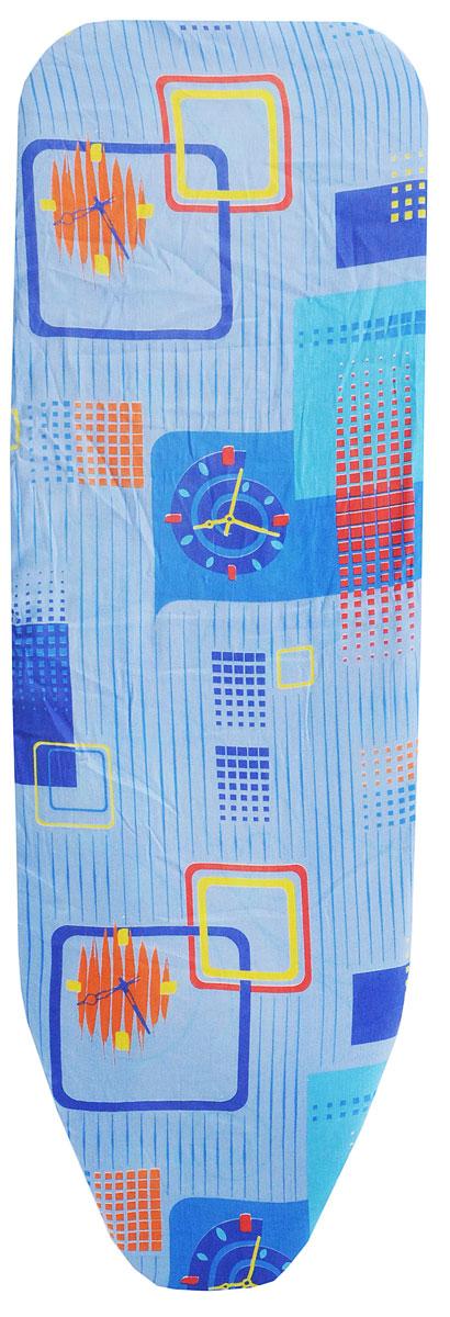 Чехол для гладильной доски Eva, с поролоном, цвет: голубой, синий, желтый, 119 х 37 смЕ1303_голубой, синий, желтыйХлопчатобумажный чехол Eva с поролоновым слоем продлит срок службы вашей гладильной доски. Чехол снабжен прочной резинкой, при помощи которой вы легко зафиксируете его на рабочей поверхности гладильной доски. Размер чехла: 119 х 37 см. Максимальный размер доски: 110 х 30 см.