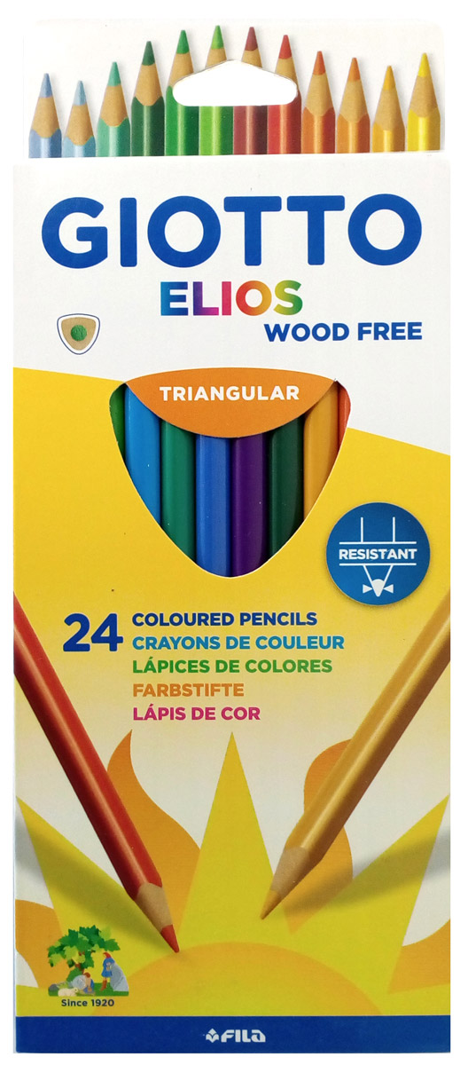 Giotto Набор цветных карандашей Elios Tri 24 цвета карандаши восковые мелки пастель giotto elios tri цветные пластиковые 12 шт
