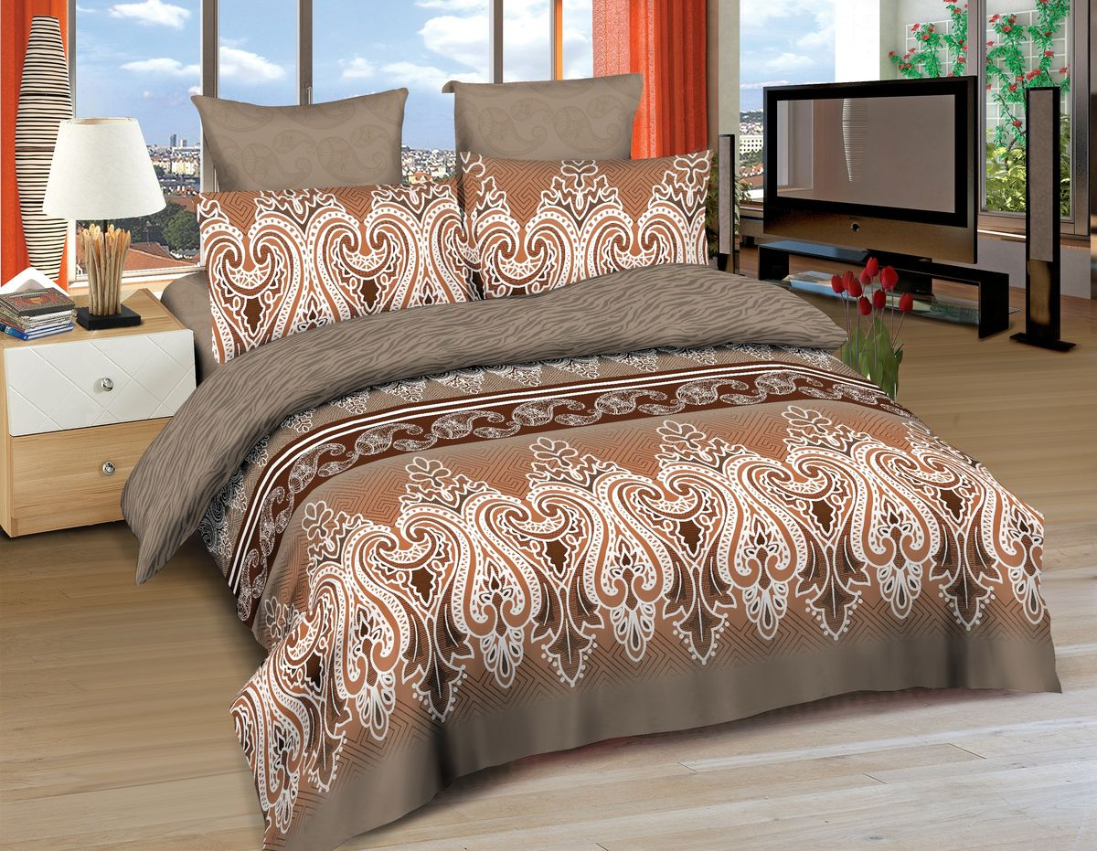Комплект белья Amore Mio Tabriz, 2-спальный, наволочки 70x70, цвет: коричневый, бежевый, белый