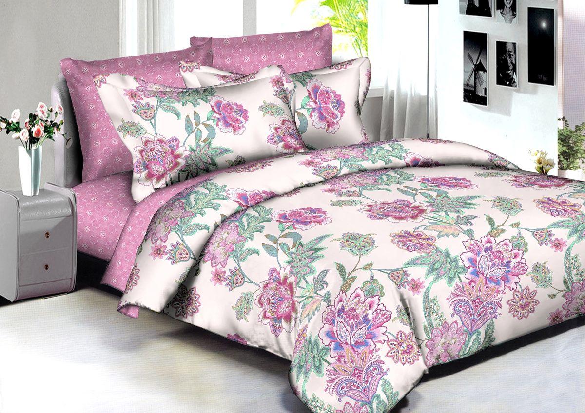 """Комплект белья Buenas Noches """"Adelaide"""", 2-спальный, наволочки 70x70, 50x70, цвет: розовый, белый, зеленый"""