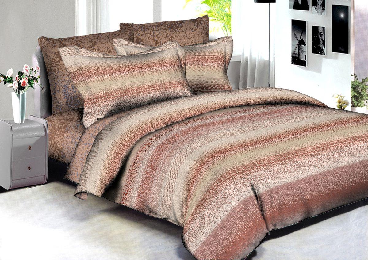 """Комплект белья Buenas Noches """"Bogota"""", 2-спальный, наволочки 70x70, 50x70, цвет: бежевый, коричневый"""