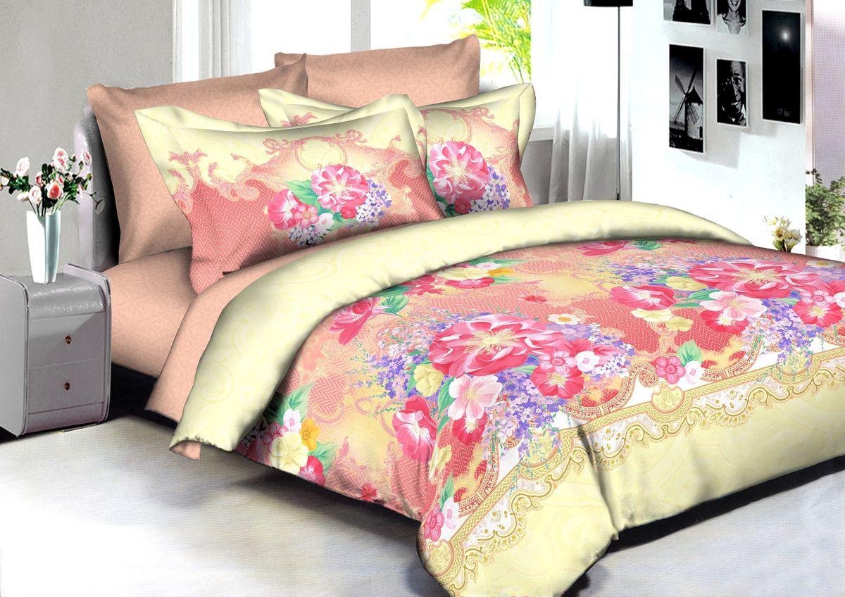 """Комплект белья Buenas Noches """"Jakarta"""", 2-спальный, наволочки 70x70, 50x70, цвет: желтый, розовый"""