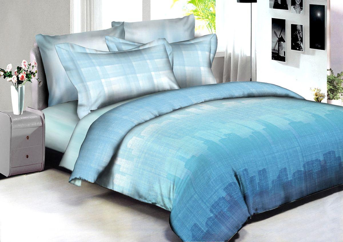 """Комплект белья Buenas Noches """"Monterrey"""", 2-спальный, наволочки 70x70, 50x70, цвет: голубой"""