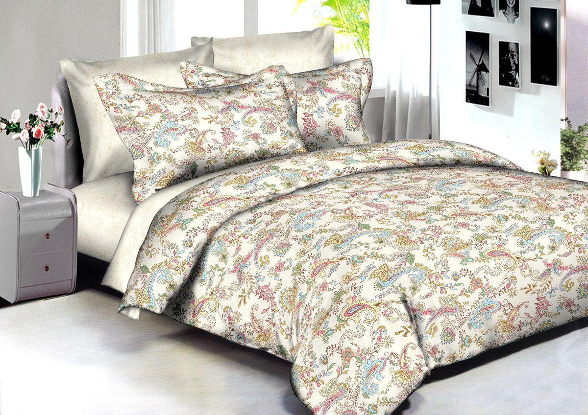 """Комплект белья Buenas Noches """"Delhi"""", 2-спальный, наволочки 70x70, 50x70, цвет: бежевый"""