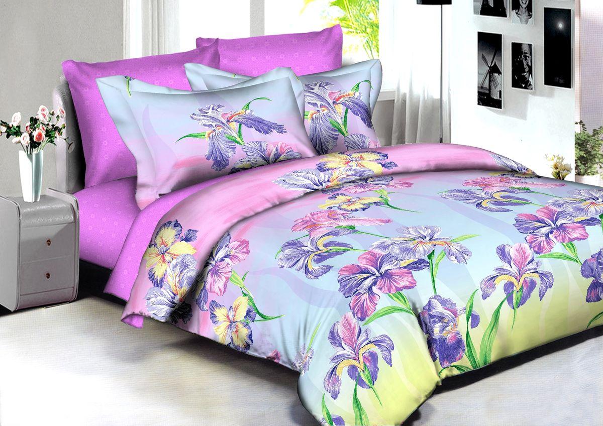 """Комплект белья Buenas Noches """"Manila"""", 2-спальный, наволочки 70x70, 50x70, цвет: розовый, сиреневый"""