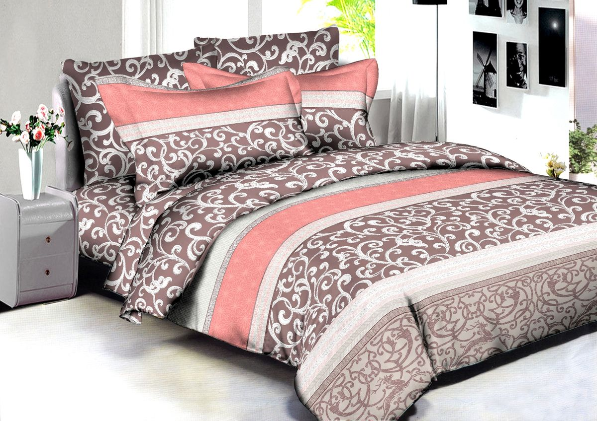 """Комплект белья Buenas Noches """"Pune"""", 2-спальный, наволочки 70x70, 50x70, цвет: коричневый"""