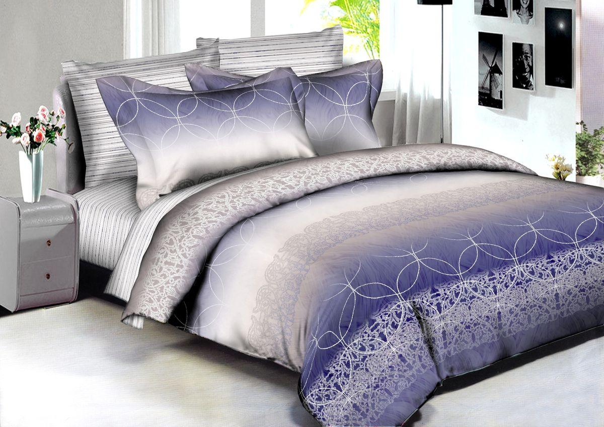 """Комплект белья Buenas Noches """"Singapore"""", 2-спальный, наволочки 70x70, 50x70, цвет: синий, белый"""