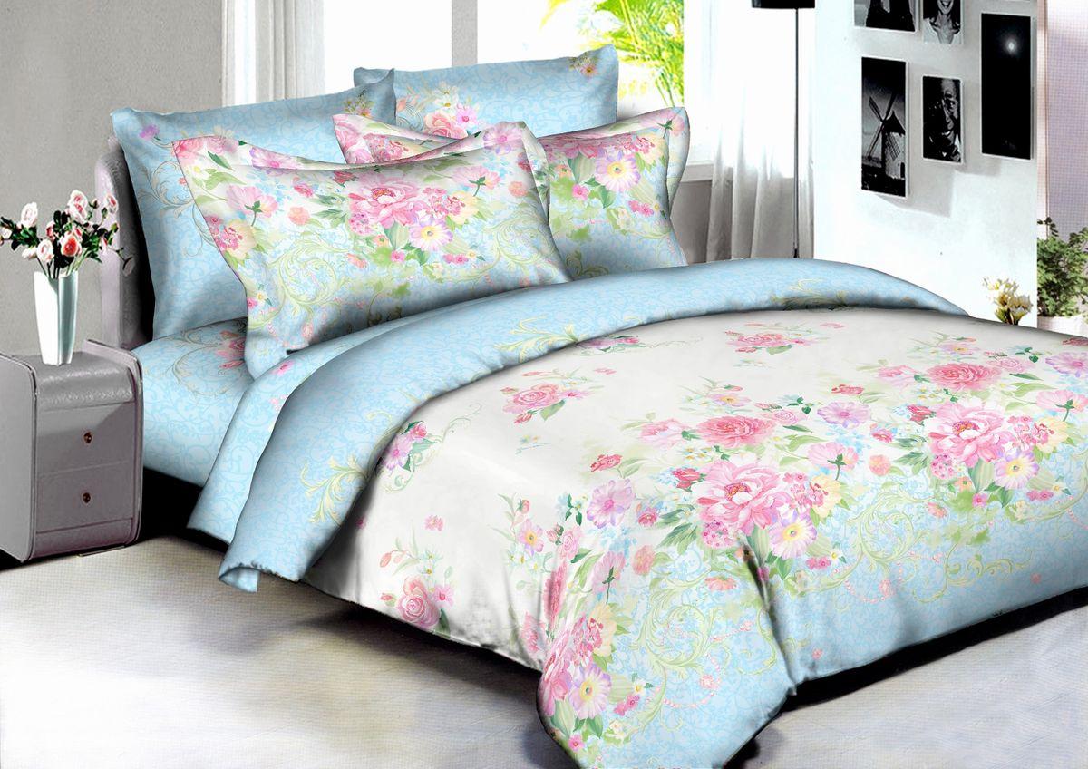 """Комплект белья Buenas Noches """"Madrid"""", 2-спальный, наволочки 70x70, 50x70, цвет: голубой, розовый"""
