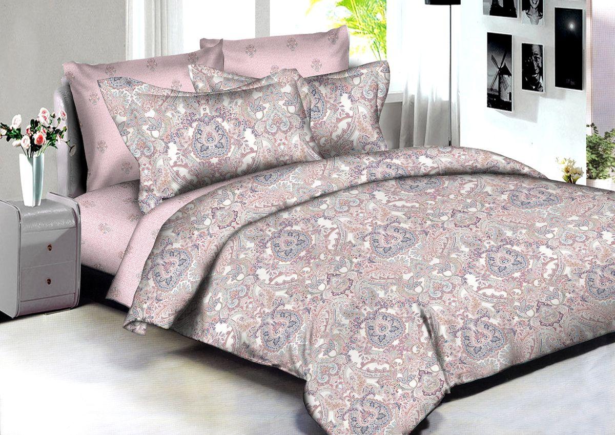 """Комплект белья Buenas Noches """"Izmir"""", 2-спальный, наволочки 70x70, 50x70, цвет: розовый, коричневый"""