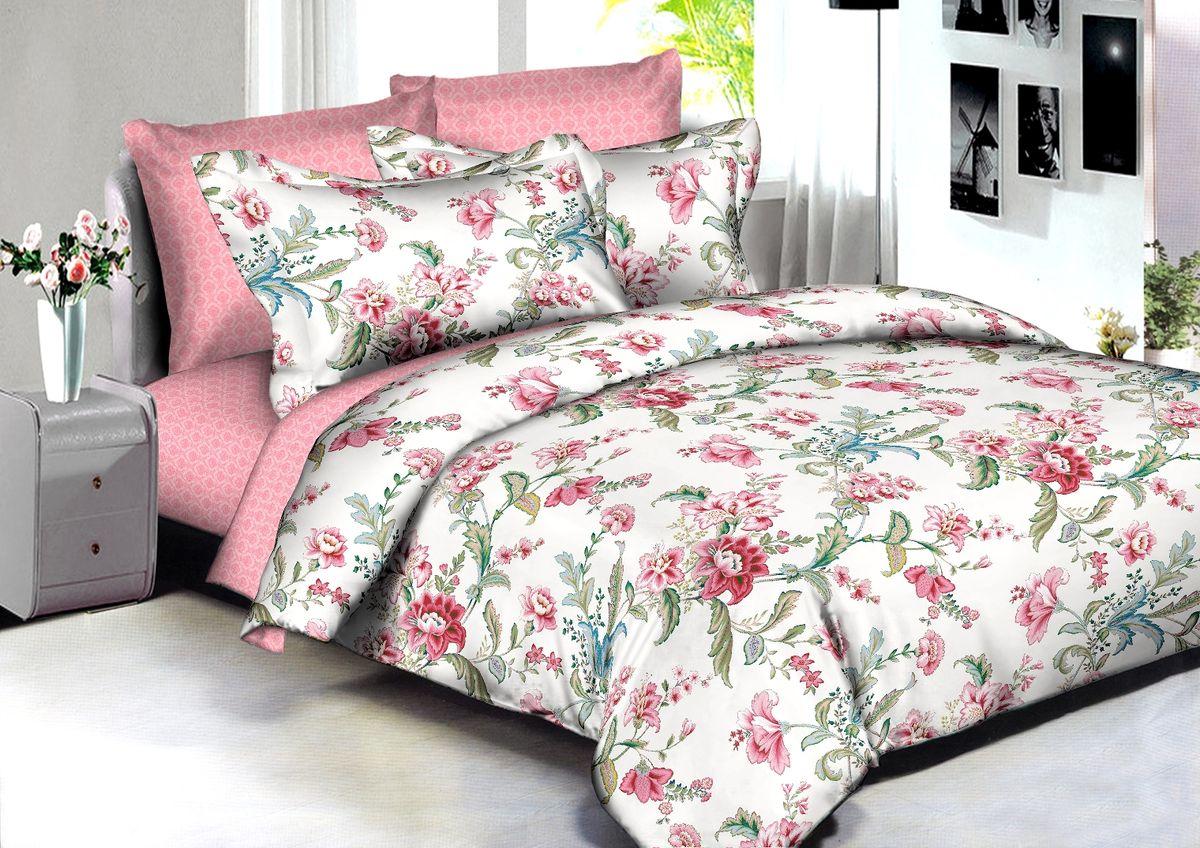 """Комплект белья Buenas Noches """"Rome"""", евро, наволочки 70x70, 50x70, цвет: белый, розовый"""