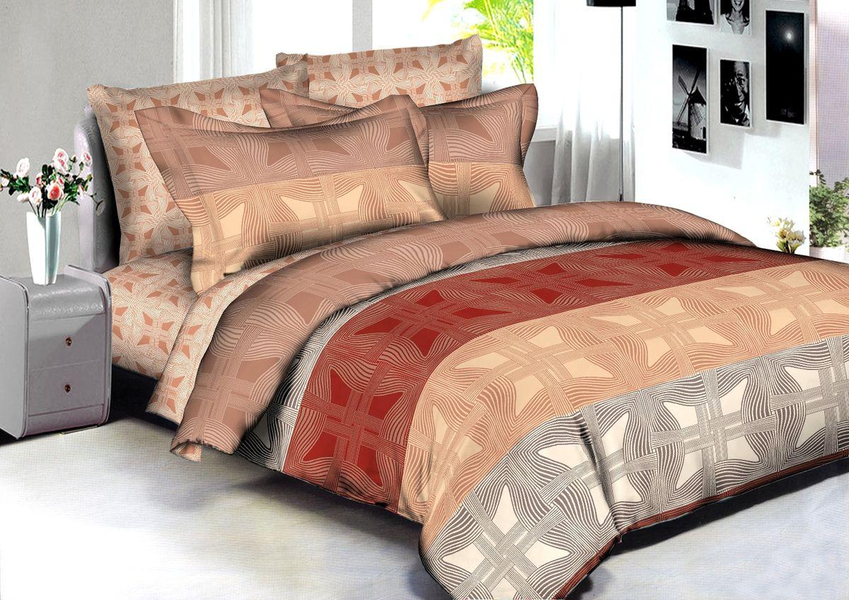 """Комплект белья Buenas Noches """"Tartu"""", евро, наволочки 70x70, 50x70, цвет: коричневый"""