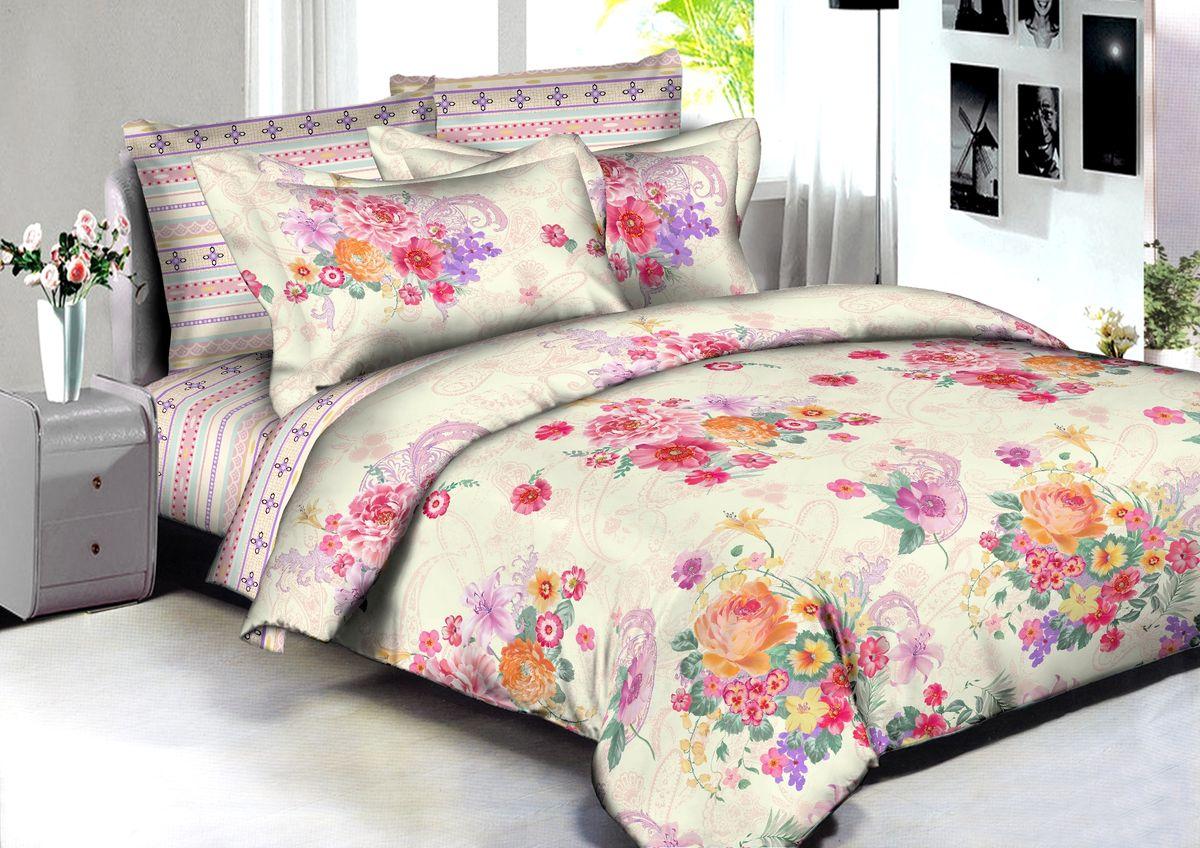 """Комплект белья Buenas Noches """"Surat"""", евро, наволочки 70x70, 50x70, цвет: бежевый, розовый"""