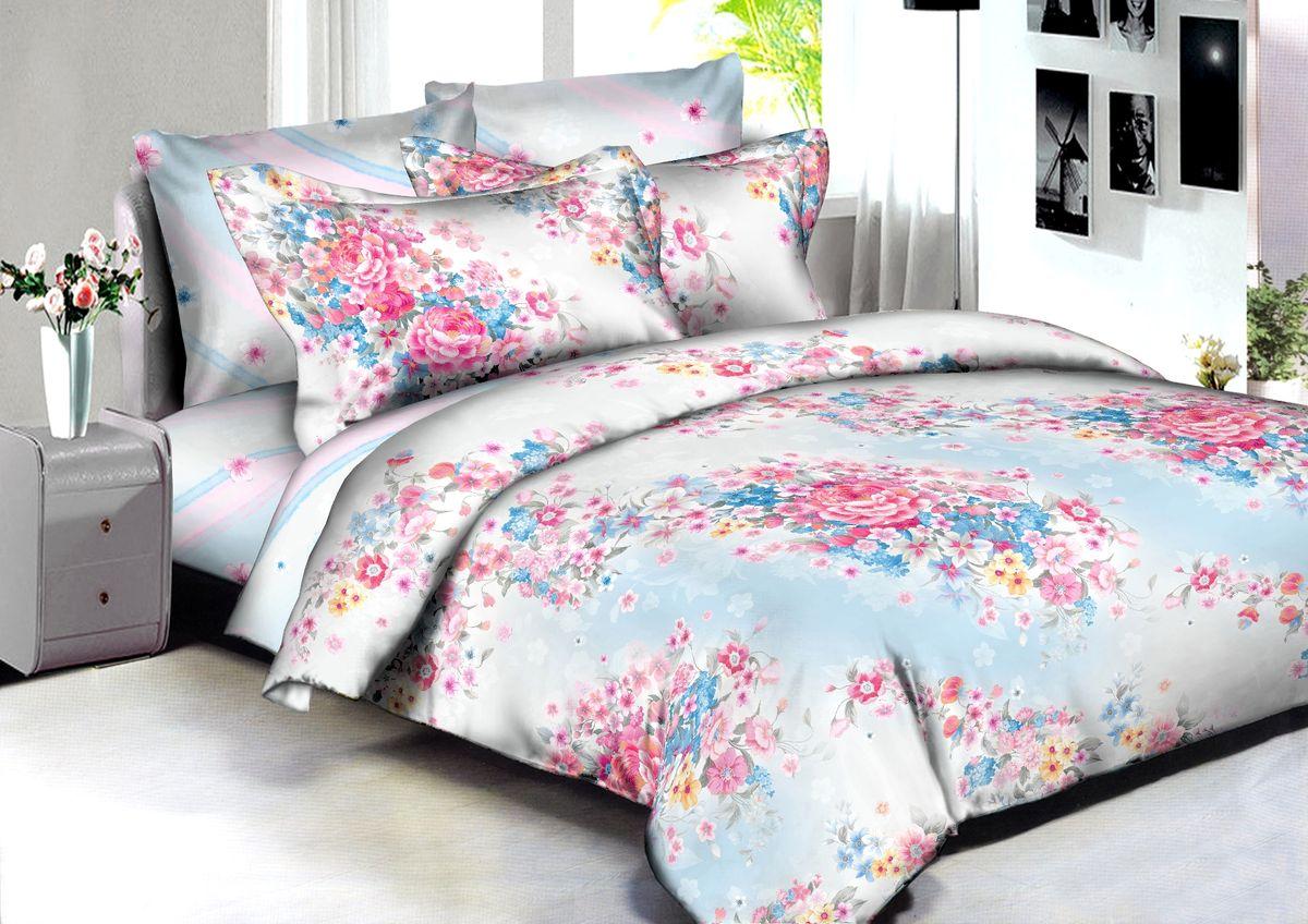 """Комплект белья Buenas Noches """"Venice"""", евро, наволочки 70x70, 50x70, цвет: белый, розовый, голубой"""