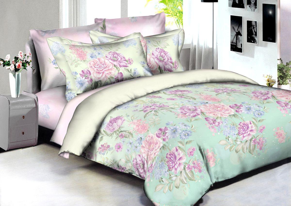 """Комплект белья Buenas Noches """"Toulouse"""", евро, наволочки 70x70, 50x70, цвет: розовый, зеленый, сиреневый"""
