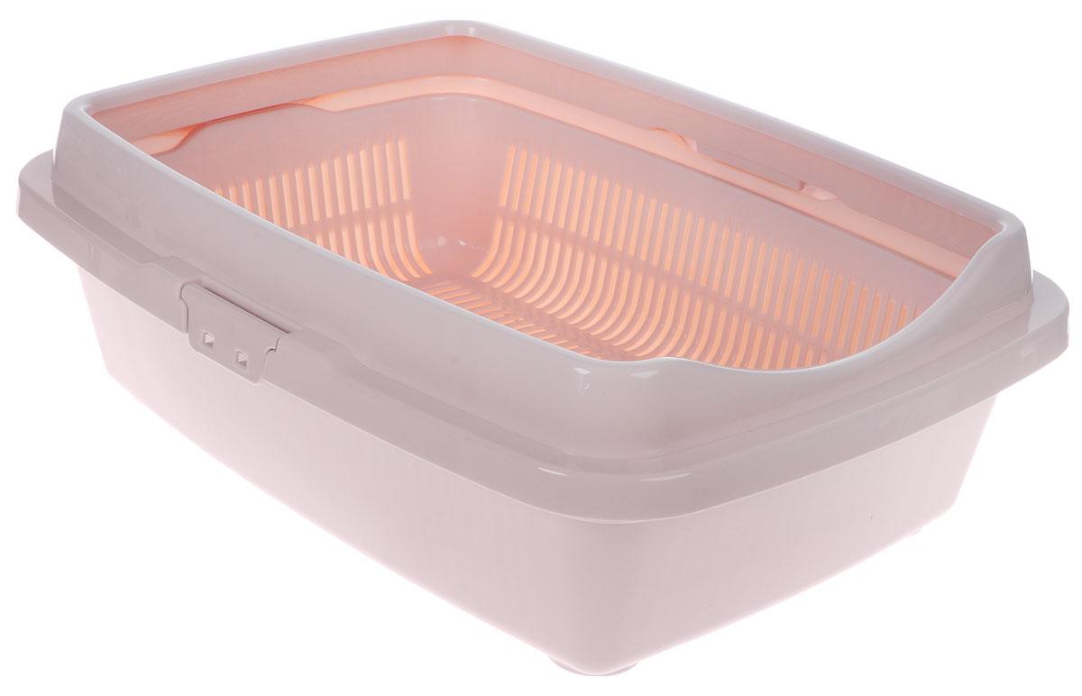 Туалет для кошек DD Style Догуш, цвет: пепельно-розовый, 36 х 49,5 х 16,7 см корзина для пикника dd style цвет белый розовый 48 х 35 х 33 см