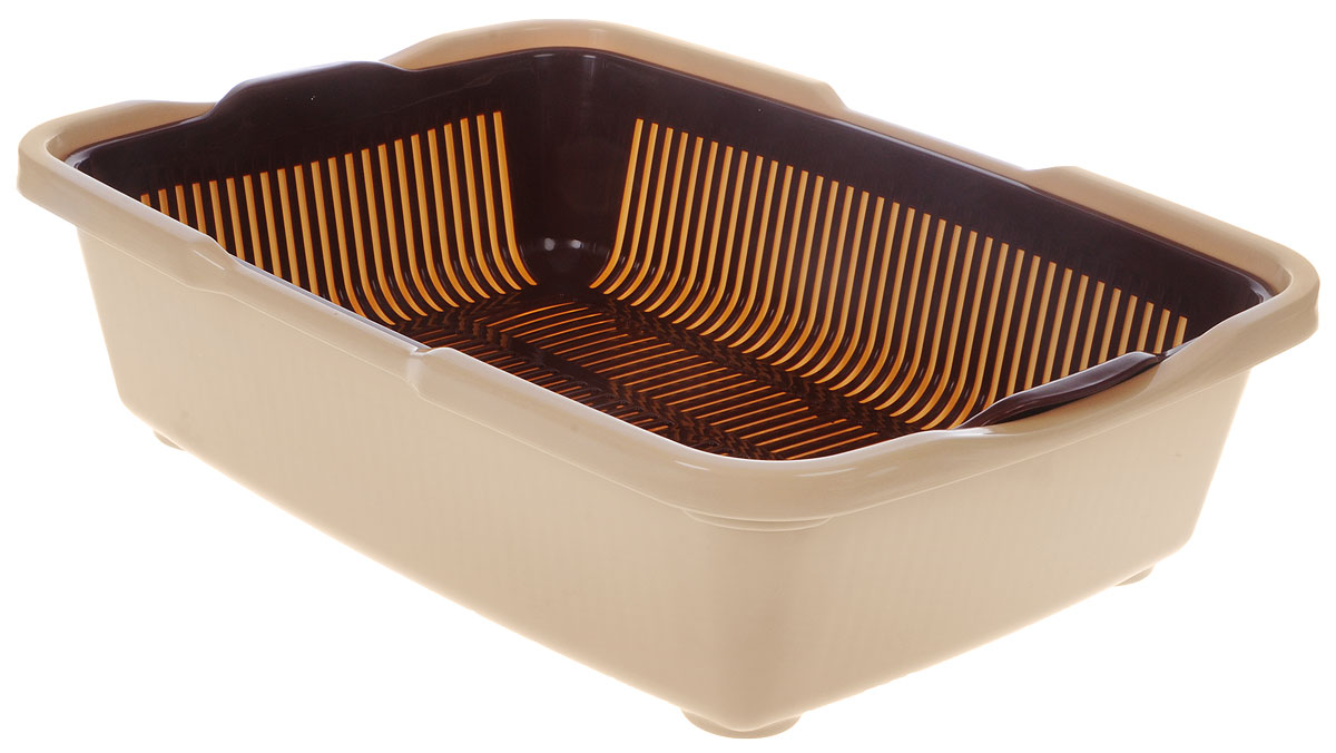Туалет для кошек DD Style Догуш, с сеткой, цвет: коричневый, бежевый, 36 х 49,5 х 12,5 см туалет для кошек dd style догуш с бортом цвет светло серый 32 5 х 43 х 15 5 см