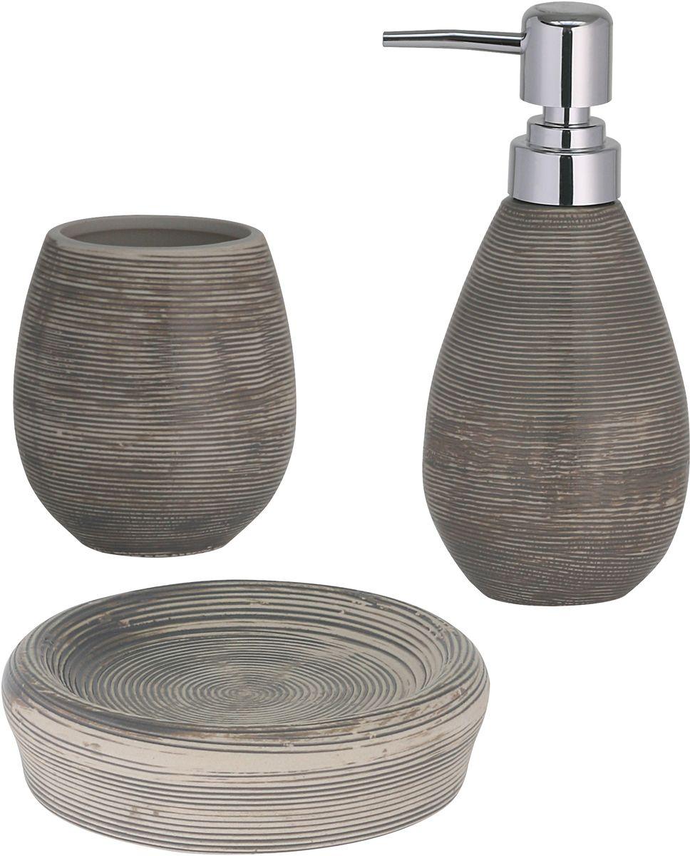 """Набор для ванной комнаты Axentia """"Oxford"""", цвет: серый, 3 предмета"""