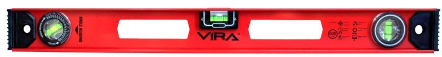 Уровень Vira, магнитный, с поворотным глазком, 600 мм100251Уровень позволяет проверять горизонтальные, вертикальные поверхности, а также поверхности с промежуточным углом (0>90 градусов) на соответствие эталону, задавать необходимый наклон плоскости. Изготовлен из цельного алюминиевого профиля толщиной 1 мм. Этот параметр позволяет сочетать необходимую прочность уровня с его легкостью. Профиль имеет две специальные прорези для надежного хвата руками, что делает работу инструментом удобнее, как в горизонтальной, так и в вертикальной плоскости. Высокая точность измерений 1мм/м обеспечивается тремя глазками, один из них поворотный. Устойчивость уровня на металлических поверхностях достигается за счет магнитной грани, проходящей по всей длине инструмента. Благодарю этому свойству уровень можно использовать на отвесных поверхностях, без помощи рук. Один глазок уровня зафиксирован на нулевом (горизонтальном) значении, второй закреплен под 90 градусов третий - поворотный. Позволяет определять нестандартные промежуточные углы, задавать нужные вам отклонения плоскости при конструкторских, дизайнерских или ремонтных работах. Все глазки обладают устойчивостью к ультрафиолетовому излучению, что необходимо при работе не улице. В торцевые части уровня вмонтированы противоударные пластиковые заглушки.