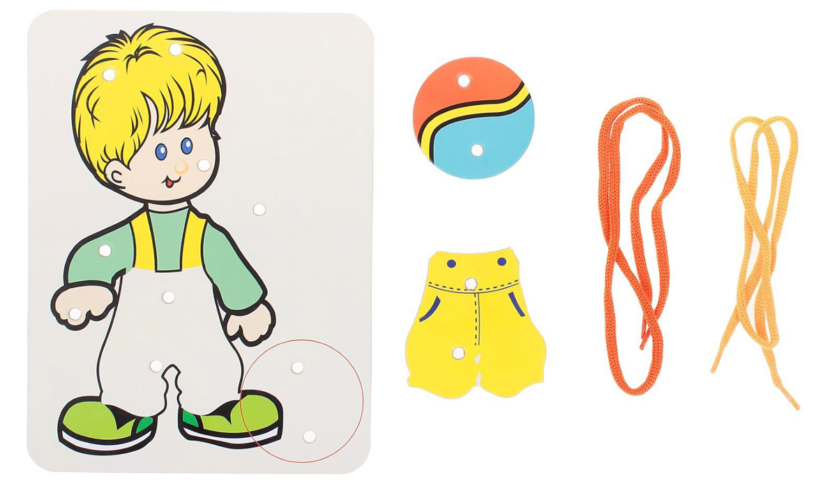 Ракета Шнуровка-раскраска Мальчик штаны и мяч