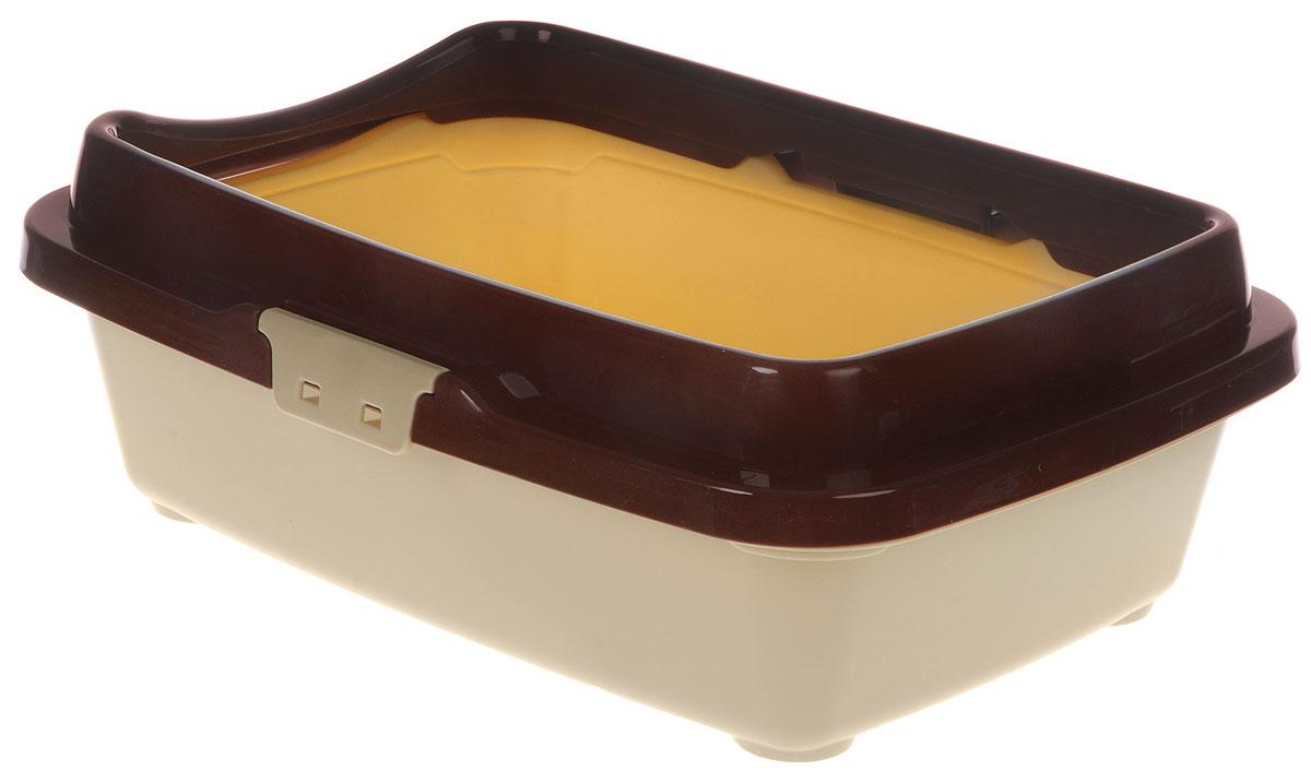Туалет для котят DD Style Догуш, цвет: коричневый, бежевый, 26,5 х 36,5 х 12,5 смТуалет Догуш для котят полн.комплектация кор.-беж.(уп.20) арт.232Туалет для котят DD Style Догуш изготовлен из качественного прочного пластика. Высокий борт, прикрепленный по периметру лотка, удобно защелкивается и предотвращает разбрасывание наполнителя. Благодаря внутренней сетке, туалет можно использовать как с наполнителем, так и без него. Это самый простой в употреблении предмет обихода для котят. Туалет легко моется водой. Как выбрать кошачий туалет – статья на OZON Гид.