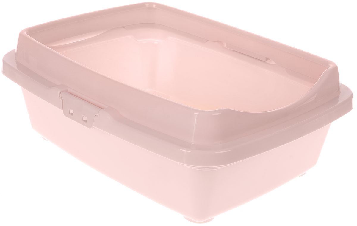 Туалет для кошек DD Style Догуш, с бортом, цвет: пепельно-розовый, 36 х 49,5 х 16,7 см корзина для пикника dd style цвет белый розовый 48 х 35 х 33 см