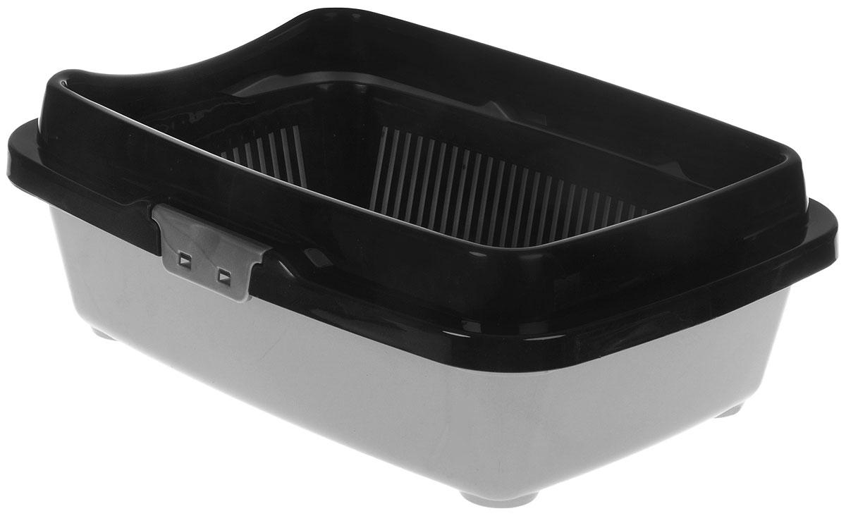 Туалет для кошек DD Style Догуш, цвет: черный, серебристый, 32,5 х 43 х 15,5 смТуалет Догуш для кошек полн.комплектация чёрн.-серебр.(уп.18) арт.235Туалет для кошек DD Style Догуш изготовлен из качественного прочного пластика. Высокий борт, прикрепленный по периметру лотка, удобно защелкивается и предотвращает разбрасывание наполнителя. Благодаря внутренней сетке, туалет можно использовать как с наполнителем, так и без него. Это самый простой в употреблении предмет обихода для кошек и котов. Туалет легко моется водой. Как выбрать кошачий туалет – статья на OZON Гид. Рекомендуем!