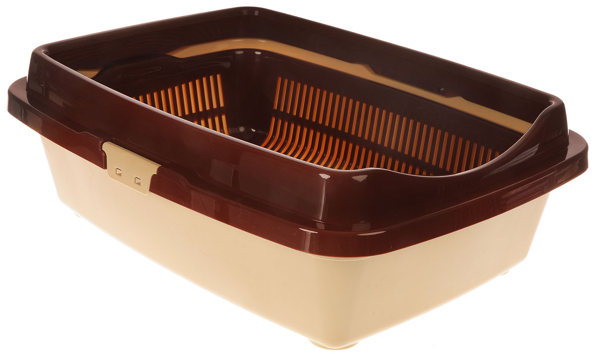"Туалет для кошек DD Style ""Догуш"", цвет: коричневый, бежевый, 36 х 49,5 х 16,7 см"