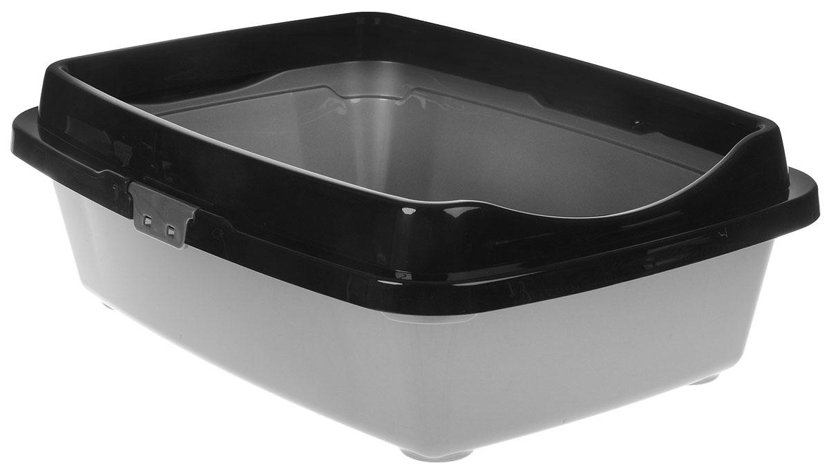 "Туалет для кошек DD Style ""Догуш"", с бортом, цвет: черный, серебристый, 36 х 49,5 х 16,7 см"