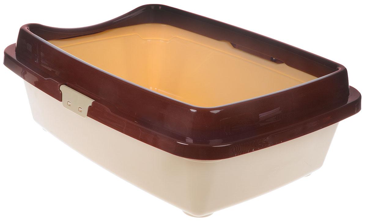 "Туалет для кошек DD Style ""Догуш"", с бортом, цвет: коричневый, бежевый, 36 х 49,5 х 16,7 см"