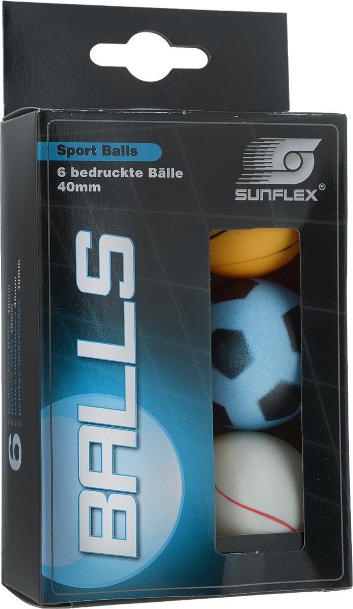Мячи для настольного тенниса Sunflex Sport, 40 мм, 6 шт