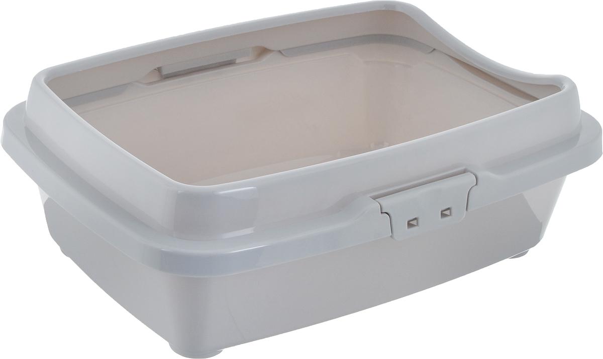 Туалет для котят DD Style Догуш, с бортом, цвет: светло-серый, 26,5 х 36,5 х 12,5 см туалет для кошек dd style догуш с бортом цвет светло серый 32 5 х 43 х 15 5 см