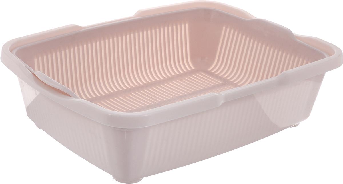 Туалет для кошек DD Style Догуш, с сеткой, цвет: пепельно-розовый, 30,5 х 42 х 10,5 см корзина для пикника dd style цвет белый розовый 48 х 35 х 33 см