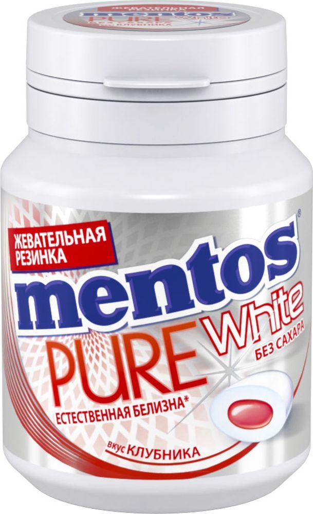 Mentos Pure White клубника жевательная резинка, 54 г жевательная резинка