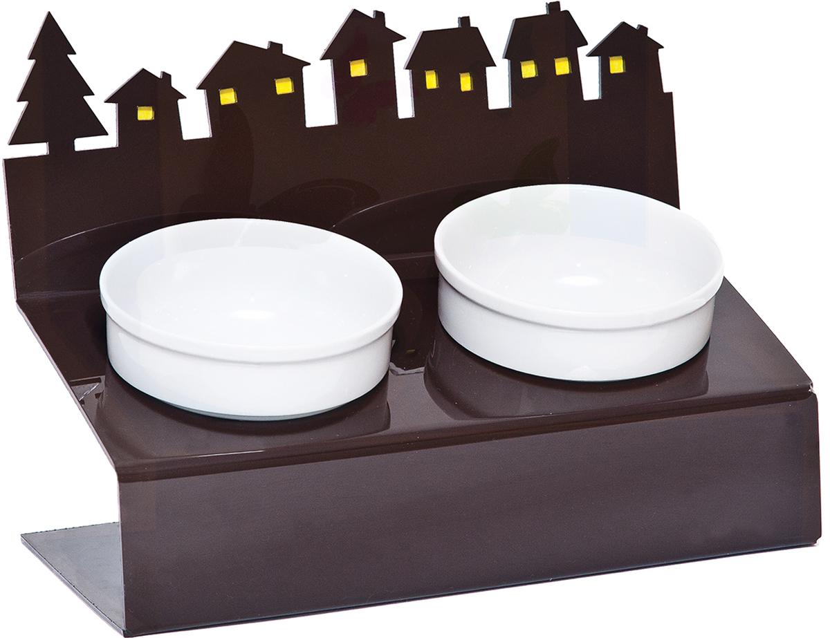 Миска для животных Artmiska Хуторок, двойная, на подставке, цвет: коричневый, 2 Х 350 мл. артмиска миска для животных artmiska совы двойная на подставке белая полупрозрачная 2 шт x 350 мл