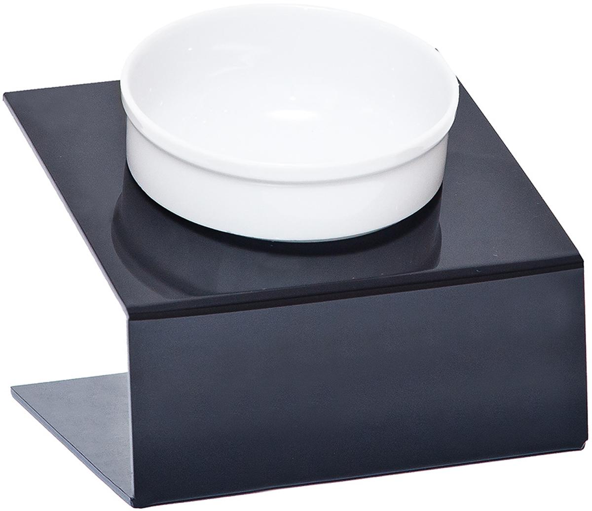 Миска для животных Artmiska, одинарная, на подставке, цвет: черный, 350 мл артмиска миска для животных artmiska кот и рыбы двойная на подставке кремовая 2 шт x 350 мл