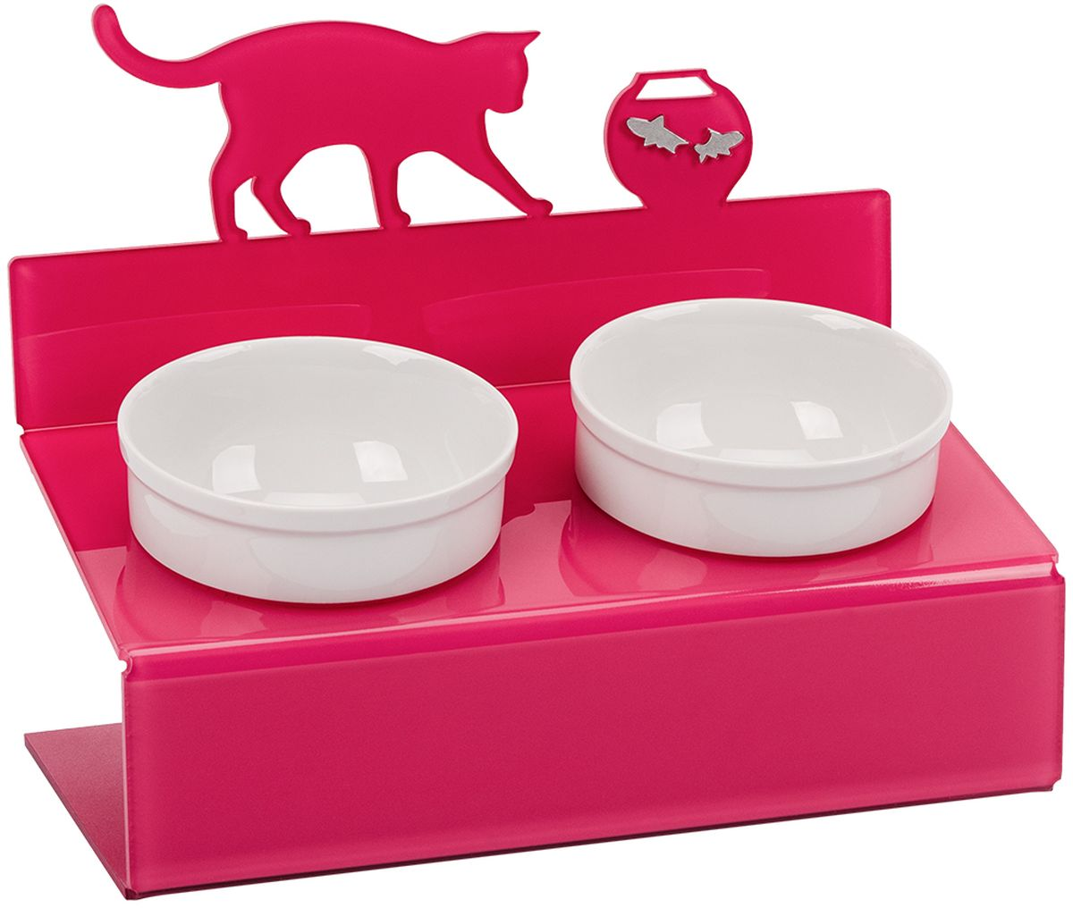 """Миска для животныx Artmiska """"Кот и рыбы"""", двойная, на подставке, цвет: малиновый, 2 x 350 мл"""