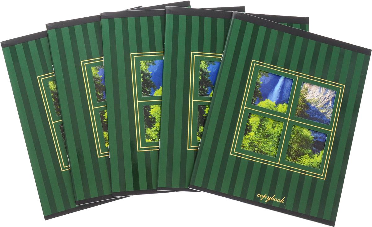 КТС-Про Набор тетрадей Вид из окна 48 листов в клетку цвет зеленый 5 шт
