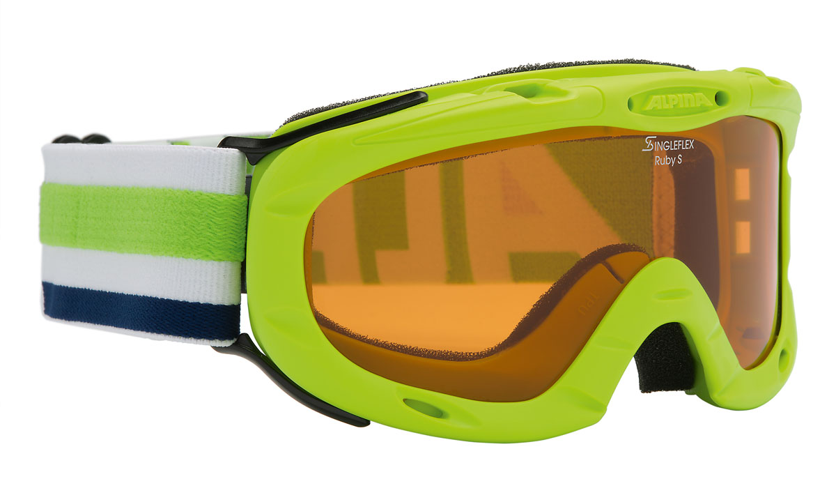 цена на Очки горнолыжные Alpina Ruby S SH, цвет: зеленый, белый, желтый