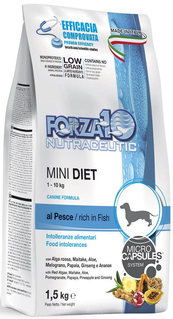 """Корм сухой Forza10 """"Diet"""" для взрослых собак мелких пород, с морской рыбой с микрокапсулами, 1,5 кг"""