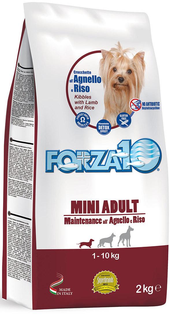 Корм сухой Forza10 Maintenance для взрослых собак мелких и средних пород, с ягненком и рисом, 2 кг корм сухой happy dog новая зеландия для собак мелких пород ягненок с рисом 4 кг