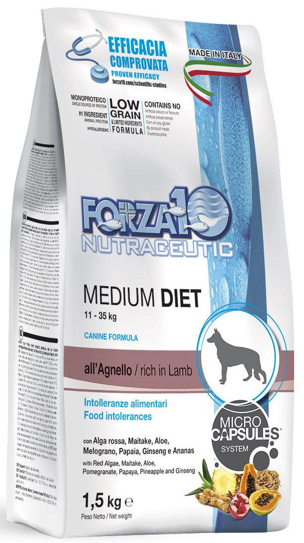 Корм сухой Forza10 Diet для взрослых собак средних пород, с ягненком с микрокапсулами, 1,5 кг рейтинг кормов для собак 2015