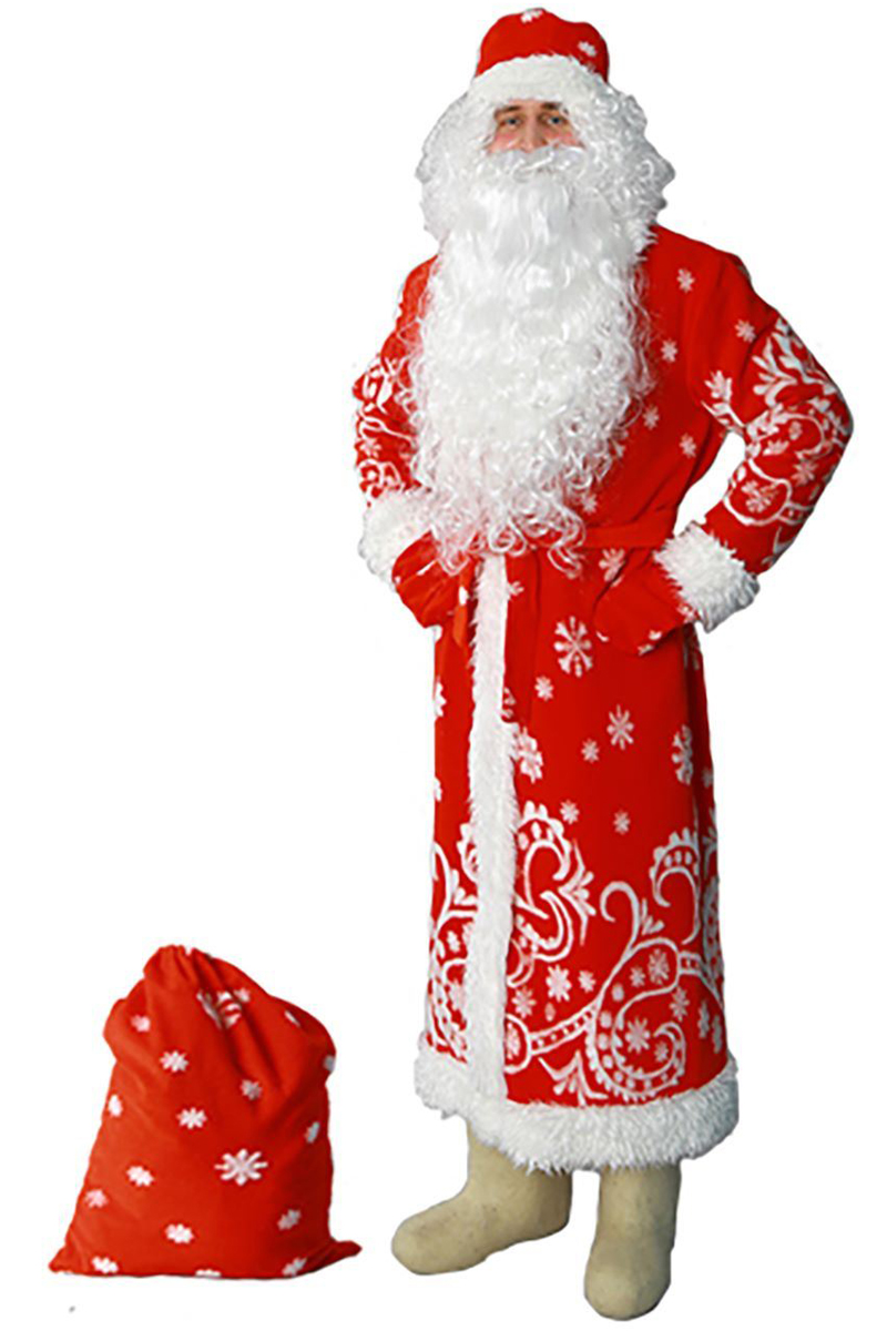 Карнавальный костюм Sima-land Дед Мороз: шуба, шапка, варежки, пояс, мешок, цвет: красный. Размер 48/50 карнавальный костюм бока дед мороз цвет синий размер 52 54 1828064