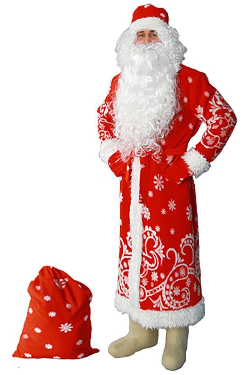 Карнавальный костюм Sima-land Дед Мороз: шуба, шапка, варежки, пояс, мешок, цвет: красный. Размер 52/54 карнавальный костюм бока дед мороз цвет синий размер 52 54 1828064