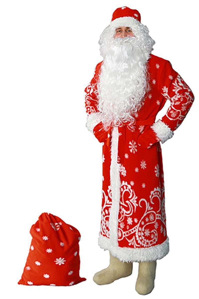 Карнавальный костюм Sima-land Дед Мороз: шуба, шапка, варежки, пояс, мешок, цвет: красный. Размер 60/62 карнавальный костюм jeanees зайка капризка цвет голубой размер 24