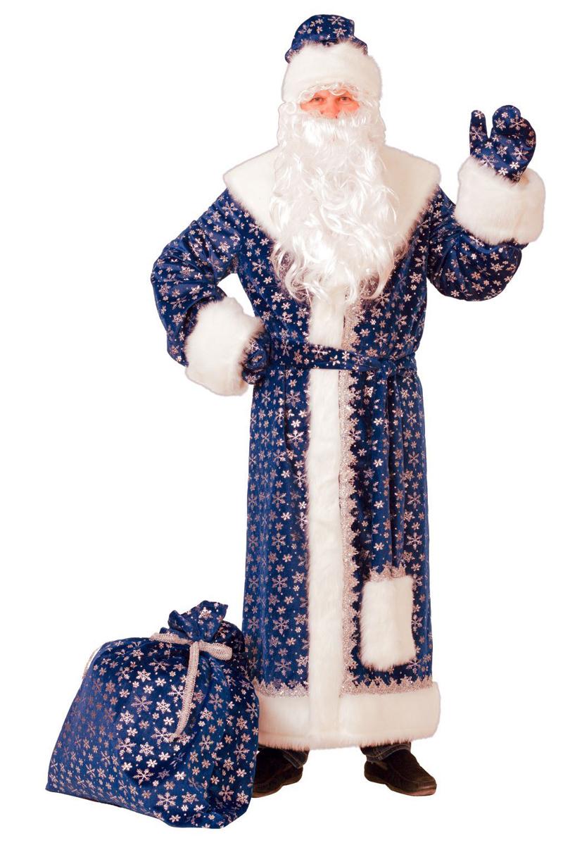 Костюм карнавальный Батик Дед Мороз, цвет: синий. Размер 54/56. 2186079 костюм карнавальный батик дед мороз цвет серебристый синий размер 54 56 354461