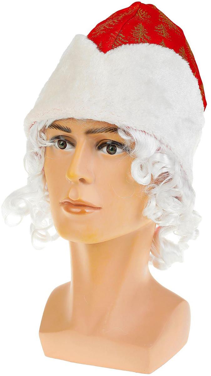 """Шапка карнавальная """"Дед Мороз"""", с волосами, цвет: красный. 2266102"""