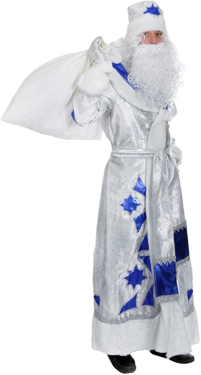 Костюм карнавальный Батик Дед Мороз, цвет: серебристый, синий. Размер 54/56. 354461 костюм карнавальный батик дед мороз цвет серебристый синий размер 54 56 354461