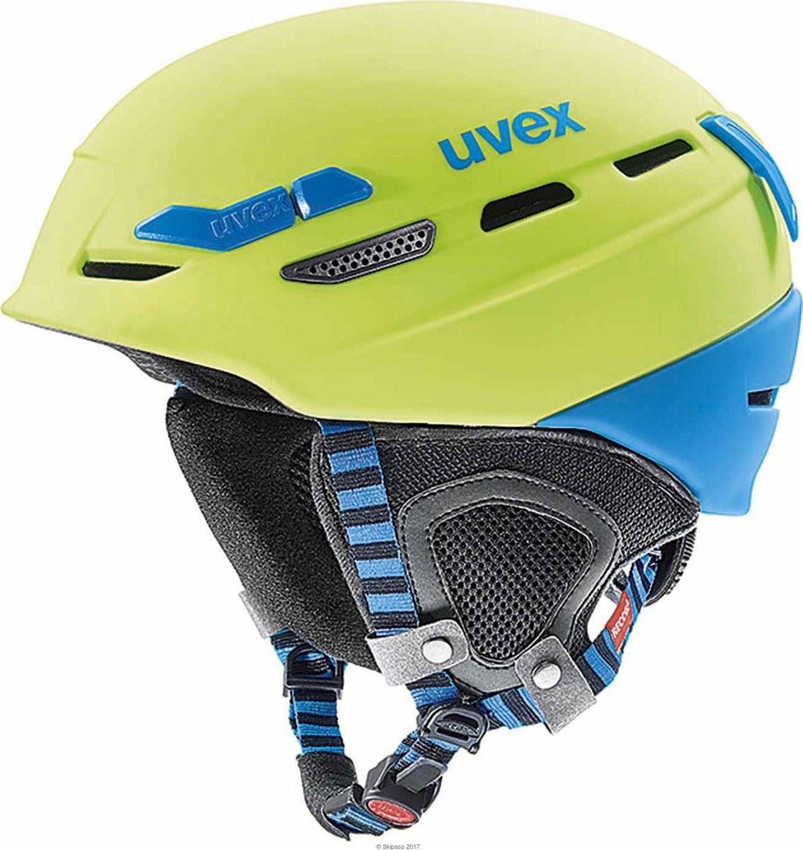 Шлем горнолыжный Uvex P.8000 tour Helmet, цвет: лайм, синий матовый. Размер M/L шлем горнолыжный salomon helmet brigade audio grey forest gr размер l 58 59